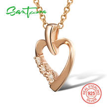 SANTUZZA Silver Heart Pendant Fit for Necklace Solid 925 Sterling Silver Shiny Stones Party Rose Gold Color Fashion Jewelry(China)