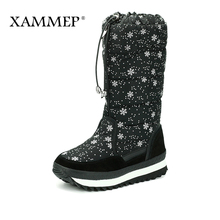 XAMMEP Women's Winter Shoes Knee High Boots Plus Big Size High Quality Brand Women Shoes Plush And Wool Women Winter Boots