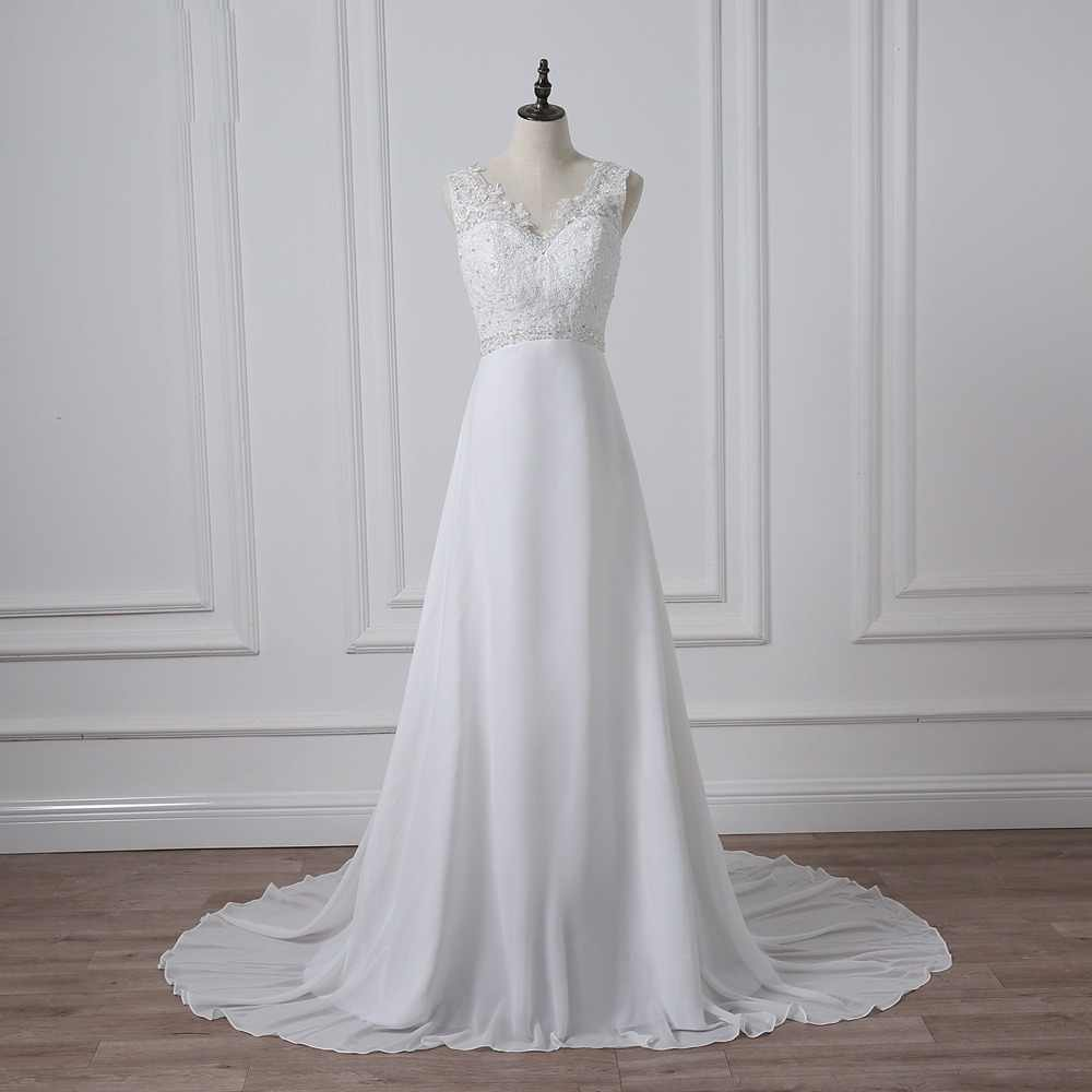 ADLN  Cheap V-neck White/Ivory Wedding Dresses Zipper Back Bridal Gowns Plus Size Vestido De Noiva Real Model Bride Dress