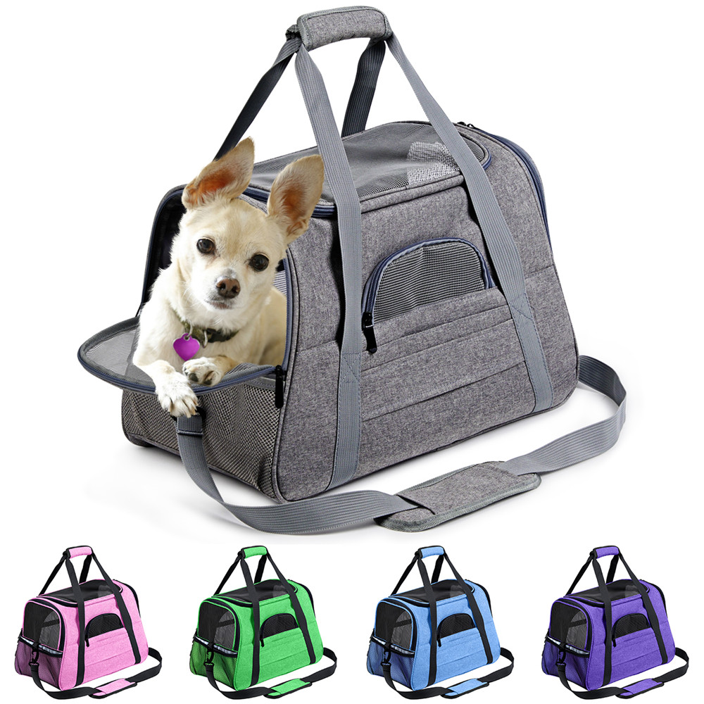Köpek taşıyıcı taşınabilir evcil hayvan sırt çantası Messenger kedi taşıyıcı giden küçük köpek seyahat çantası yumuşak yan nefes evcil hayvan taşıyıcı kedi