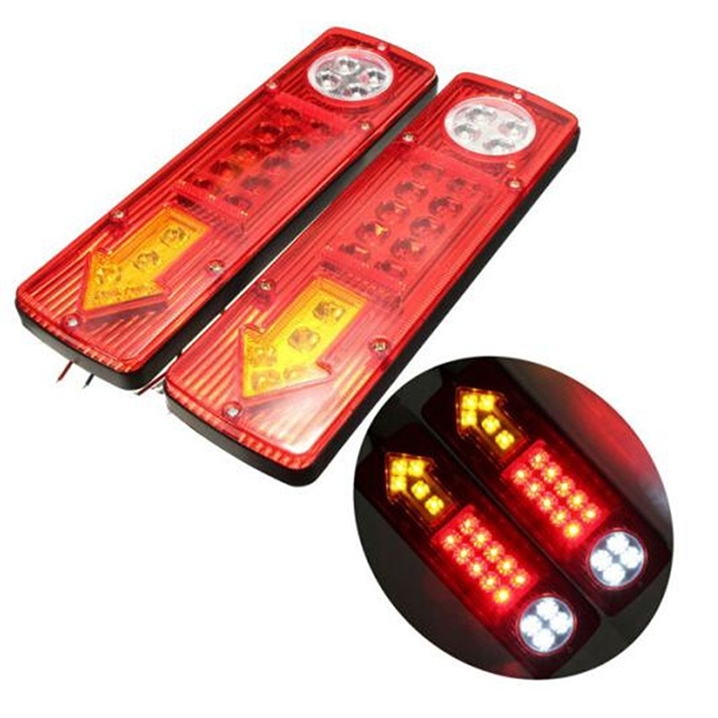 2PCs/Pair Car Truck Rear Tail Lights 19 LED 12V Super Bright Waterproof Indicator Signal Reverse Brake Stop Lamps