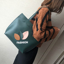 Fashion Korean Autumn Winter Women Handbag PU Leather Leaves Printing Bags Ladies Casual Shoulder Bag Big Capacity WML99