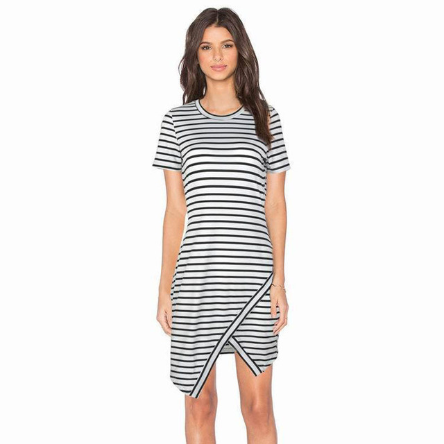 d06cb841f8998 Women Casual Summer Dress Short Sleeve O-Neck Bodycon Dress Striped  Asymmetrical Side Split cute T-Shirt Slim Fit Dresses FD3539