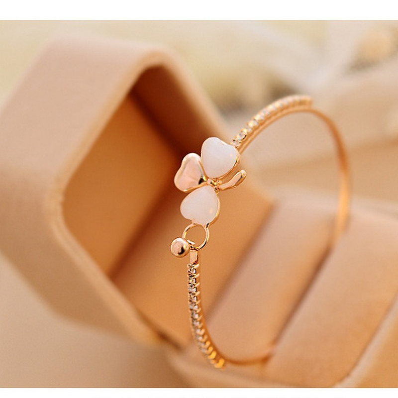 Mossovy Bowknot Peach Leaf Gold กำไลข้อมือหญิงอัญมณี Charms Golden Heart สร้อยข้อมือสร้อยข้อมือสำหรับผู้หญิง Bijoux