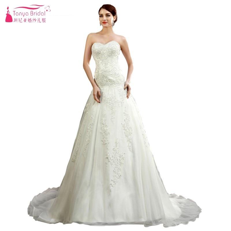 Ivory Wedding Bridal Dress Sweetheart Lace Beadings Court Train ...