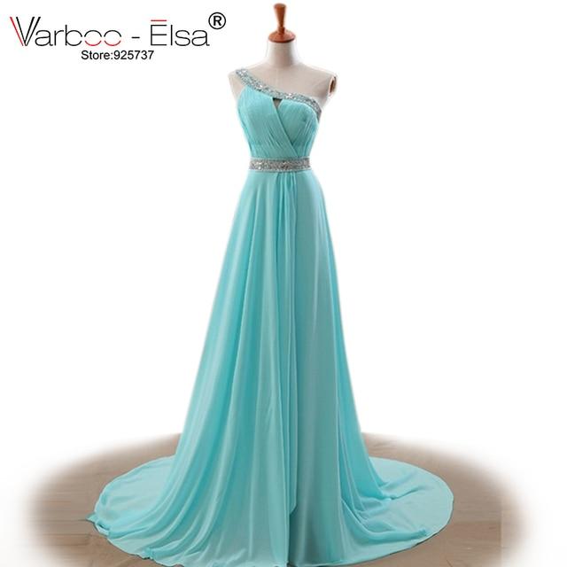 Mode eine schulter türkis abendkleider lange strand kristall chiffon ...