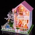 2015 Новых Прибыть Diy Деревянный Кукольный домик Миниатюре 3D Модель Головоломка Комплекты Кукольные Домики Миниатюрные Игрушки Дом День Рождения Рождественский Подарок
