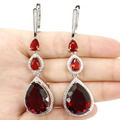 Big Gem 20x20mm Blood Ruby, White CZ Created SheCrown Woman's   Silver Earrings 72x18mm