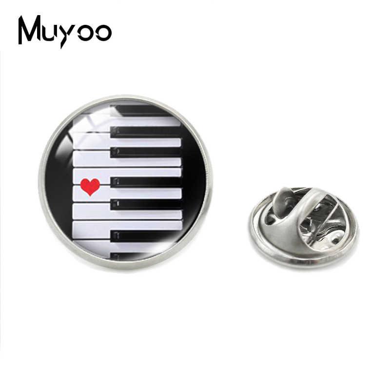 Jantung Piano Cinta Pola Stainless Steel Perhiasan Kerah Pin Vintage Hati Piano Cinta Pola Kaca Cabochon Kerah Pin Hadiah