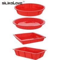 HOT 4PCS Bakeware Set Baking Silicone Molds Nonstick Silicone Bakeware Set Round Square Rectangular Pans For