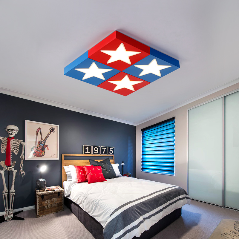 boy star red blue Ceiling Lights 1PC Children lamp LED ceiling LAMP Children's room cartoon creative personality bedroom creative cartoon baby cute led act the role ofing boy room bedroom chandeliers children room roof plane light absorption