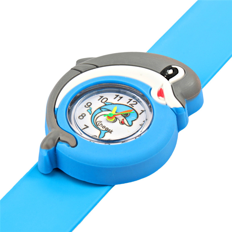 Girl Boy Sports Wristwatch Kids Cartoon Dolphin Silicone Quartz Pat Circle Watch 3D Cute Slap Children Watch Baby Clock Gifts in Children 39 s Watches from Watches