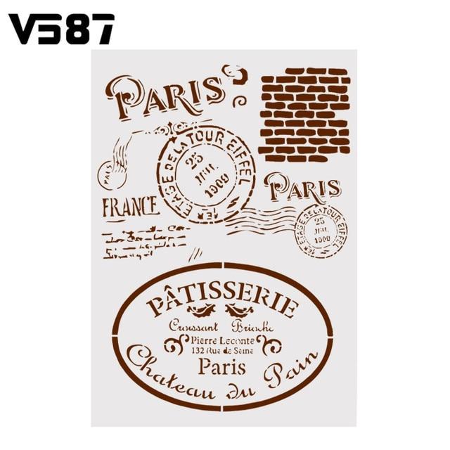 Paris Alphabets Prints Cake Coffee Stencils Template Kitchen DIY Fondant  Mousse Border Baking Decorating Tools Capuccino