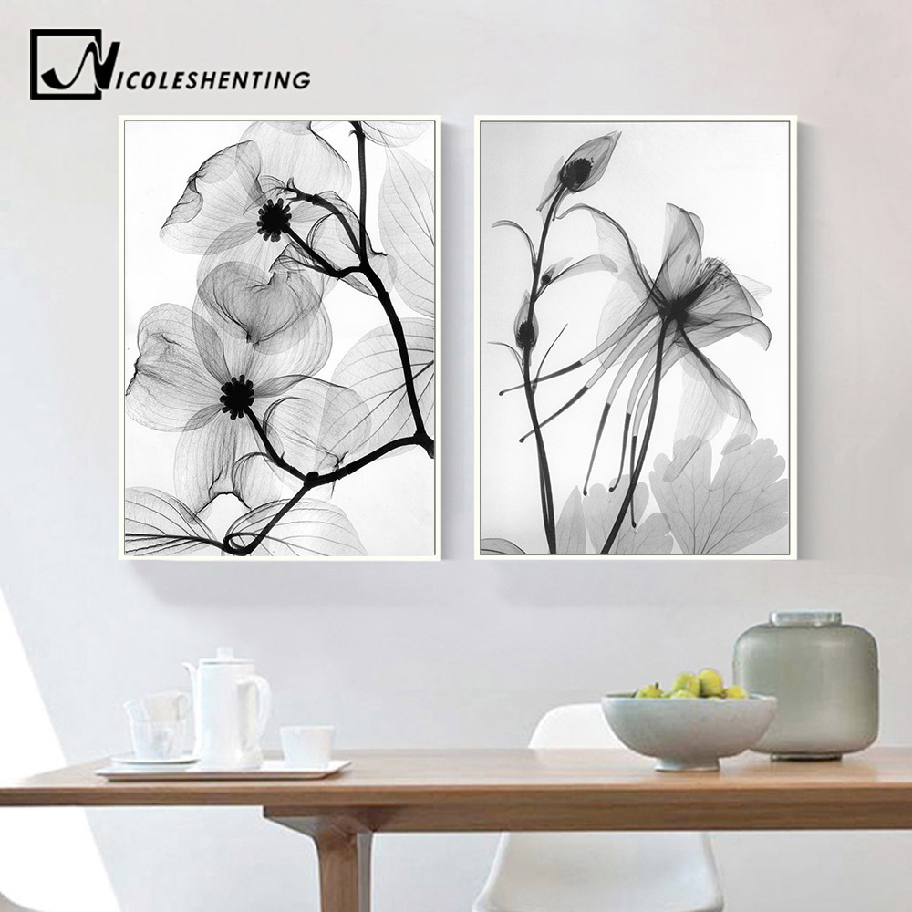 Nordic black white plant abstract flowercanvas posters canvas prints minimalist wall art painting decorative picture home decor di painting calligraphy