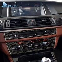 Car Interior Carbon Fiber Refit CD Central Panel Sticker AC Control Panel Decoration For BMW 5