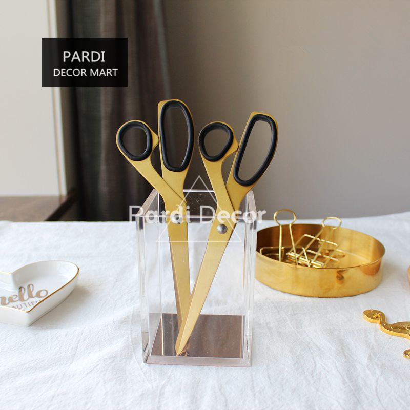 Simple style Brass gold color scissors home use Stainless steel scissors 1pc/lot