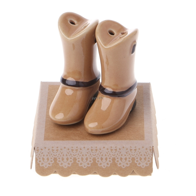 Ceramic Salt Pepper Shaker Brown Shoes Shape Seasoning Pot Cooking Tableware Salt Pepper Cumin Powder Box Kitchen Tool Mar