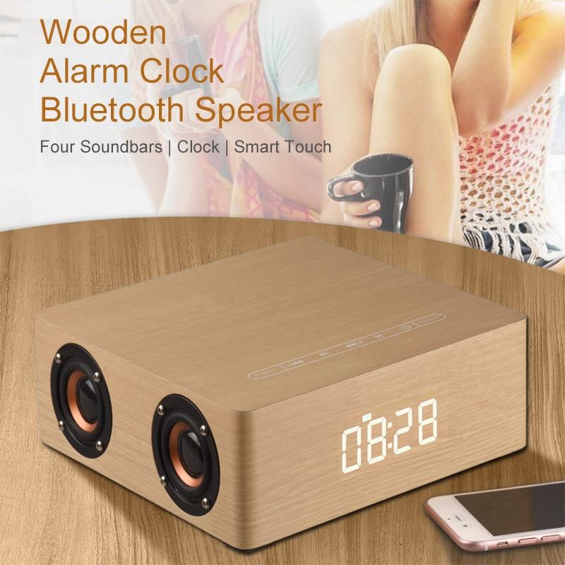 Essidi Led Screen HIFI Wood Bluetooth Speaker Soundbar Alarm Clock Smart Touch Wireless Speaker Box