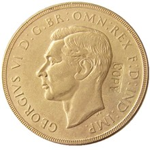 RARE 1937 GREAT BRITAIN KING GEORGE VI PROOF GOLD PLATED ONE SOVEREIGN COIN