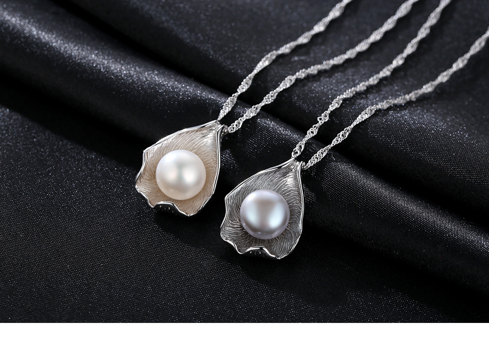 New S925 sterling silver necklace water wave chain natural freshwater pearl pendant ladies accessories GHD06