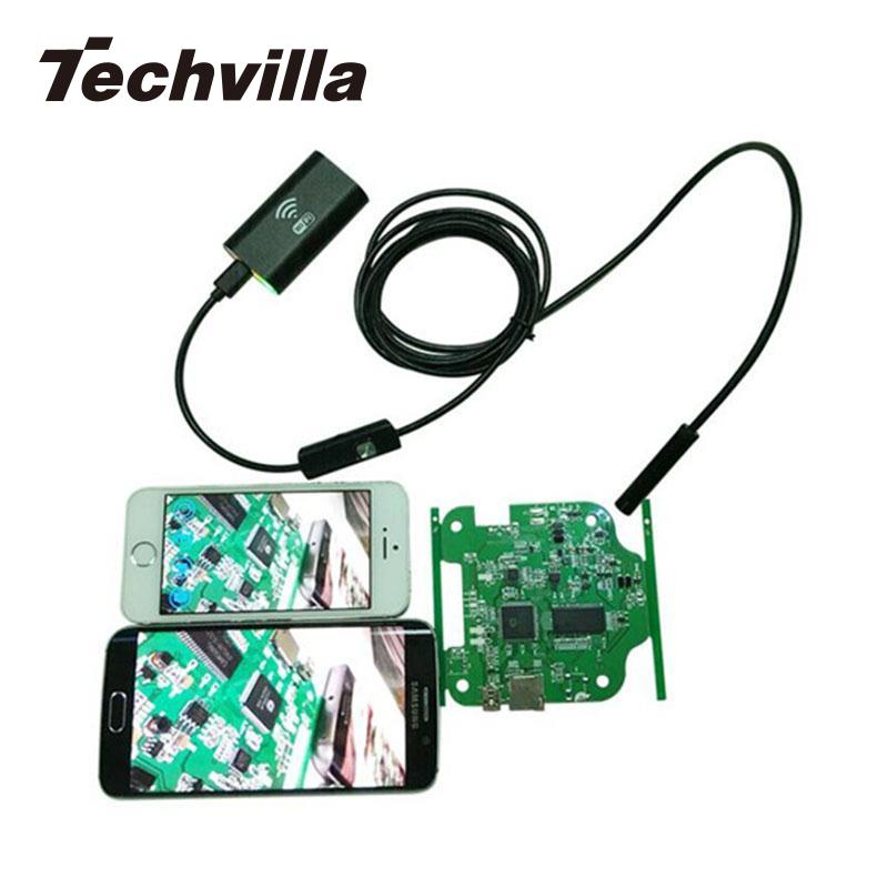 techvilla 8mm Wireless WIFI Endoscope Waterproof IP67 Borescope Inspection LED 3.5/2/1.5/1m Hard Cable Tube Snake HD 1.0MP Camer ...