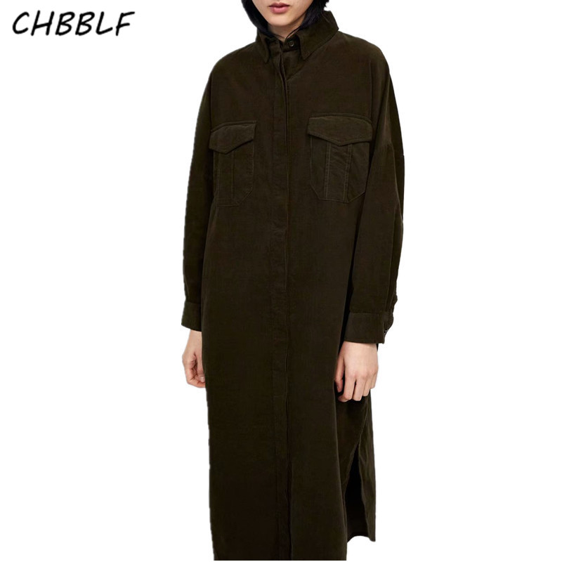 CHBBLF stylish loose coat pockets long sleeve turn down collar coat ladies casual outerwear chic long   trench   coat XDN8638