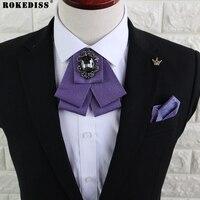 ROKEDISS 남성 영국 한국어 나비 넥타이 칼라 꽃 비즈니스 캐주얼 나비 넥타이 바지 정장 포켓 수건 신랑 나비 넥타이 Z305