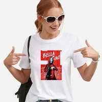 Nueva Camiseta De robo De dinero La Casa De Papel Camiseta mujer verano Casual Dali máscara casa De Papel camiseta