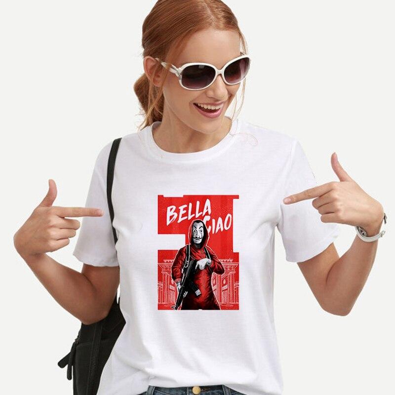 T-shirt New Money Heist La maison du papier La Casa De Papel Camiseta T-shirt femme d'été décontracté Dali masque Casa De Papel T-shirt