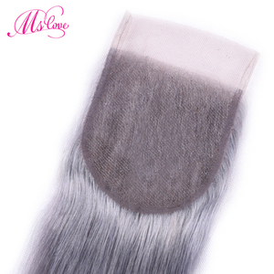 Image 5 - Ms Love Pre Colored Silver Grey Bundles With Closure Straight Remy Brazilian Human Hair Bundles With Closure