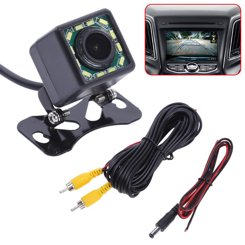 Car Rear View Camera Wide Angle Waterproof Car Back Reverse Camera 12 LED Light Night Vision Parking Assistance Camera Universal