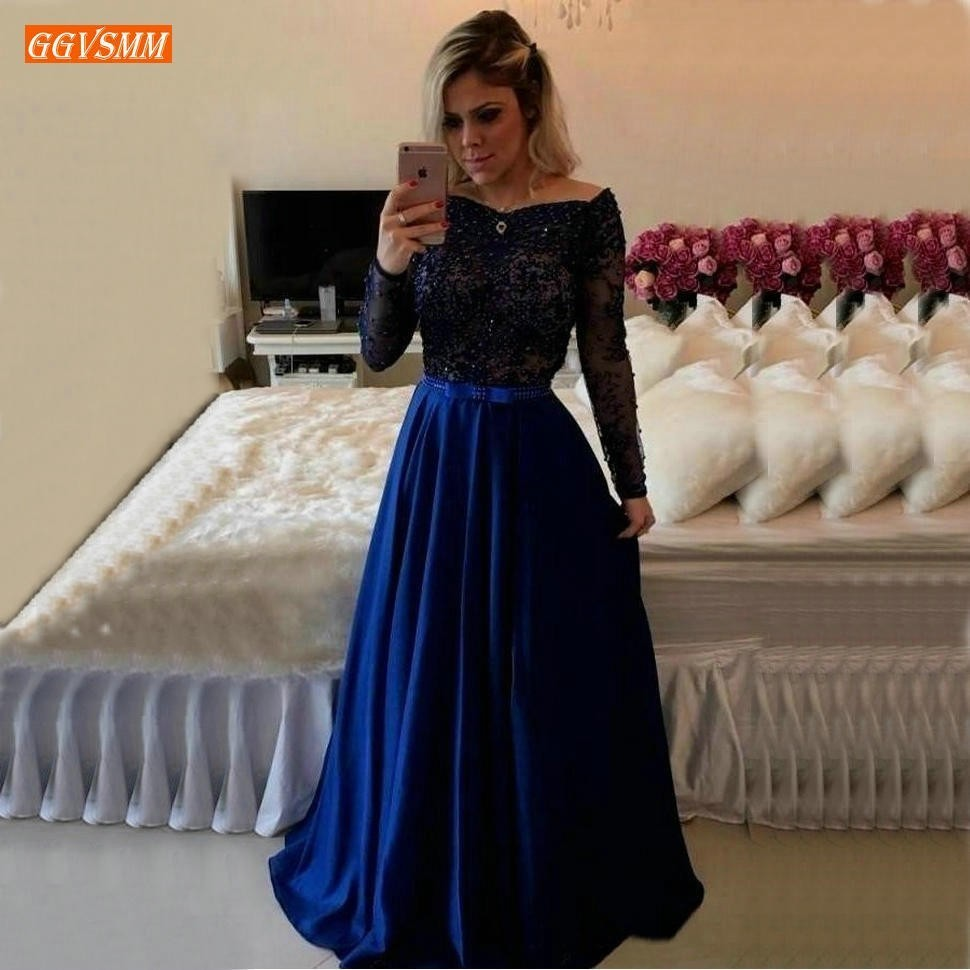 Graceful Royal Blue A Line Evening Dresses Long Sleeve Delicate Appliques Lace Evening Gowns Customized Women Formal Party Dress