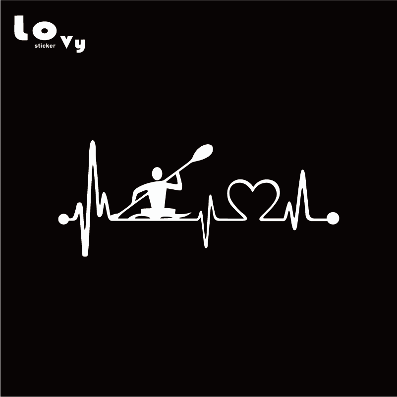 Personality Heartbeat Lifeline Kayak Vinyl Car Sticker Fashion Sports Car  Decal for Car Window Door Body Decoration CA0326