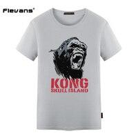 Flevans Brand Clothing Movie Skull Island Animal Letter Printed Spring Summer T Shirts Men Short Sleeve
