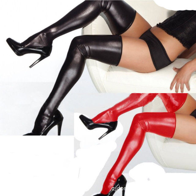 11aee09d056 2018 Brand New Women Lingerie PU Leather Legging Stockings PVC Wetlook  Clubwear Thigh-High Sexy