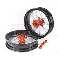 3.5/5.0*17 Supermotard Wheels For KTM SXF EXC R XC F SX EXC 300 450 125 250 350 530 2003 2017 2008 2007 Orange Hub Black Rim