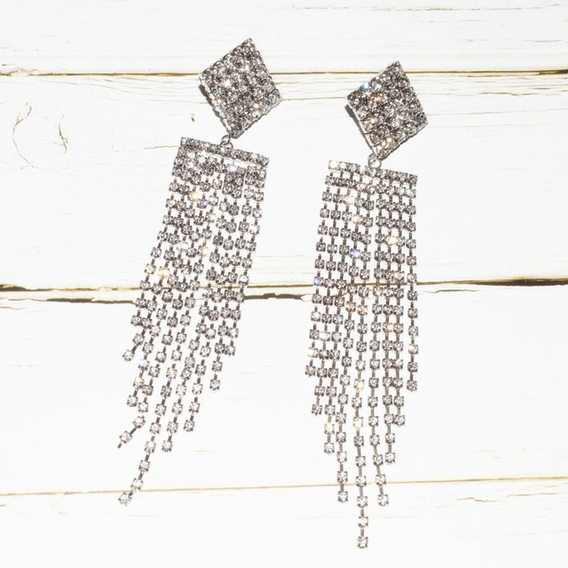 Qiaose High Quality Rhinestone Chain Tassel Dangle Earrings for Women Fashion Jewelry Boho Maxi Collection Earrings Accessories