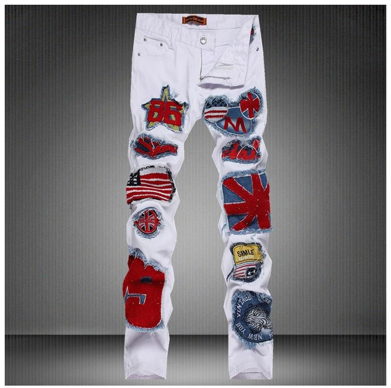 ФОТО US Flag Badge Patch Mens Denim Jeans Pants 2017 Fashion White DJ Singer Jeans Pants Designer Brand Slim Fit Pencil Jeans 30-36
