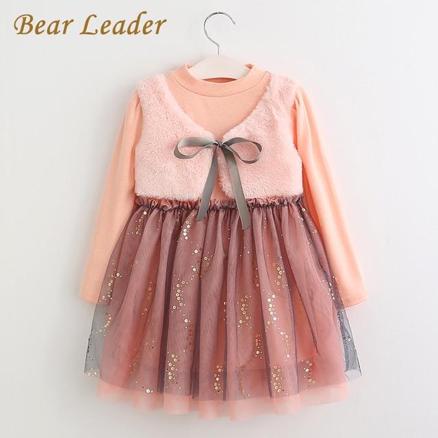 Bear Leader Grils Одеваться 2016 Новые Зимние Платья Детская Одежда Платье Принцессы Розовый С Длинным Рукавом Шерсть Лук Дизайн Девушки Одежда