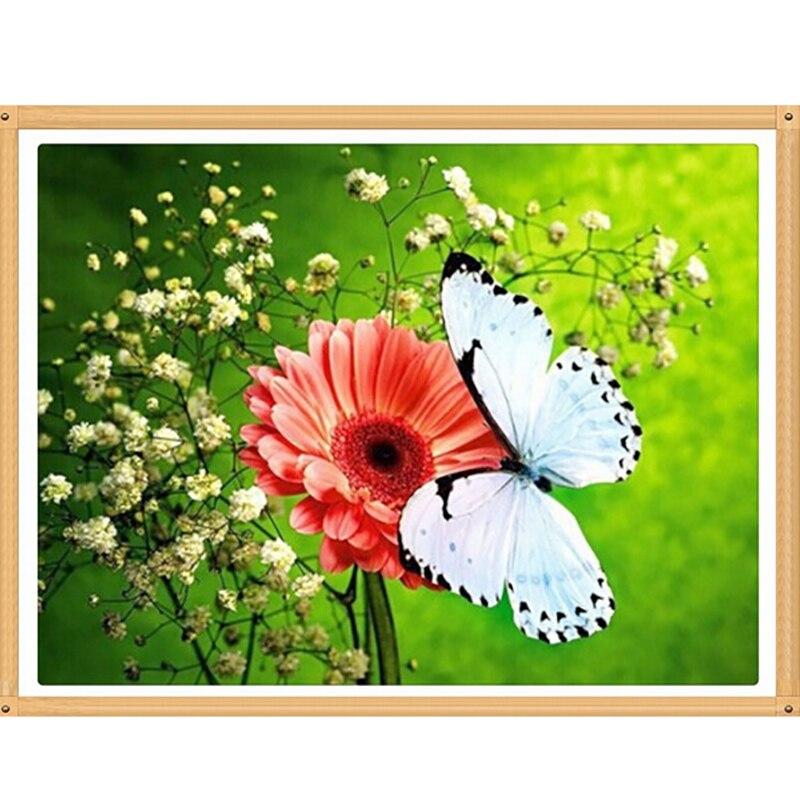 Diy Fleur Papillon Diamant Peinture Mosaïque Diamant Broderie Peinture Daisy Floral Décor À La Maison Artisanat Pleine Ronde Image