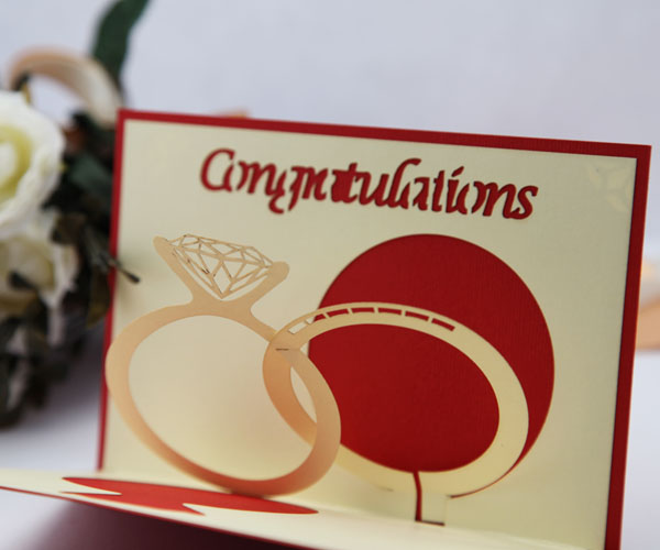 wedding ring marry greeting card edge line diy handmade three dimensional paper sculptures wedding congratulations - Wedding Greeting Cards