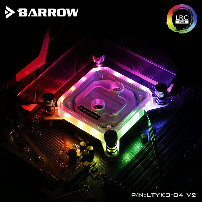 Barrow CPU Water Cooling Block use for INTEL Socket LGA115X Transparent Acrylic RGB Light LTYK3-04 V2 2.0 with light controller barrow ltyk3x 04 v2 lrc2 0 rgb cpu water cooling block for intel x99