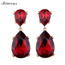 Fashion Luxury Big Rhinestone Pendant Earring 2016 New Gems Statement Earrings For Women Jewelry 7236