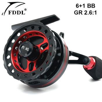 Left&Right Hand Aluminum Alloy Fly Fishing Reel Lightweight 198g 6+1BB Ball Bearing 2.6:1 Gear Ratio Aluminum Alloy Fishing Reel