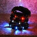 New Men's Survival Bracelet With LED Camping Parachute Light Up Scraper Whistle Flint Fire Starter Kits Lighting Wristbands
