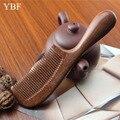 YBF Аутентичные Свадебный Свадьба макияж кисти Качество Ручной профессиональный Красный сандал деревянные гребни для волос расчески
