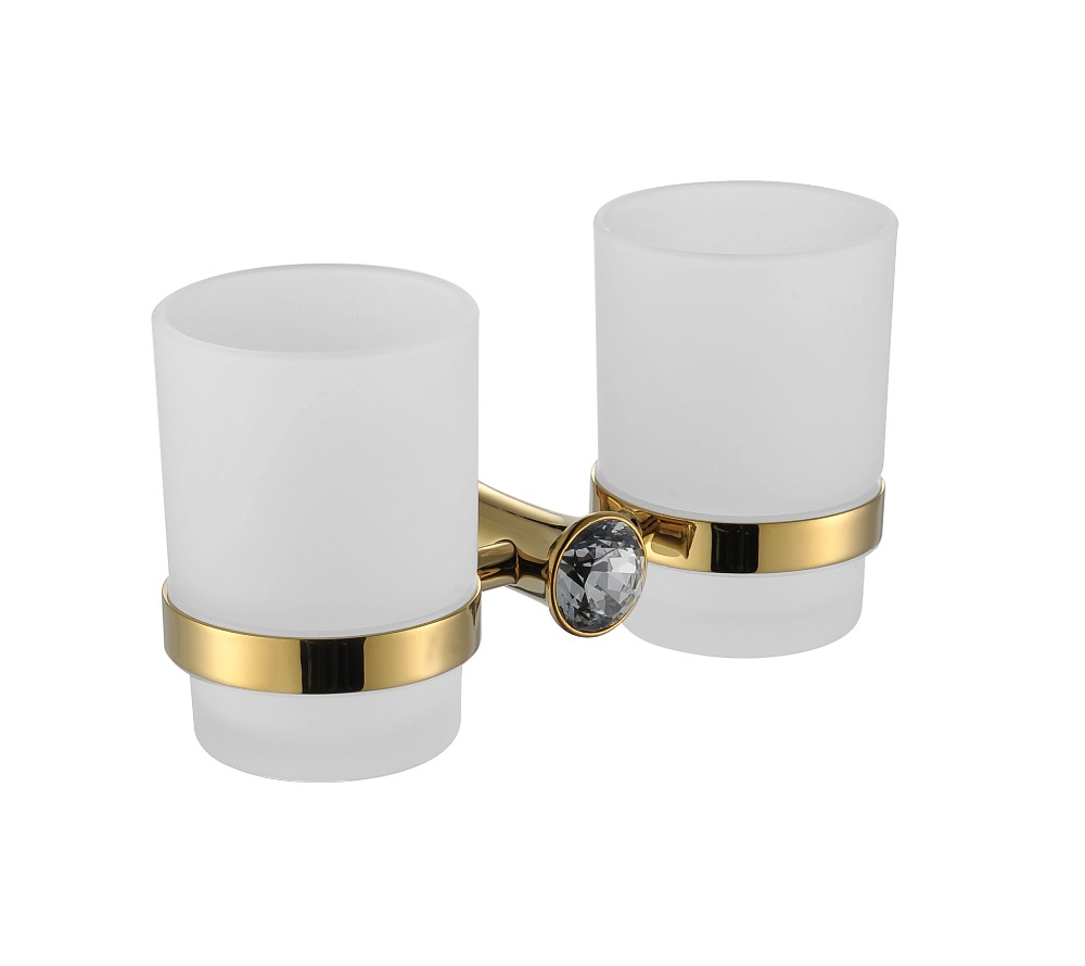 Free ship gold Finish TUMBLER HOLDER DOUBLE CUP HOLDER SMALL CRYSTAL 2017 latest model rubber spray technology black single tumbler cup holder toothbrush holder bathroom accessory