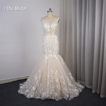 Illusion Top Lace Wedding Dress Mermaid Low Back Sexy Bridal Gown