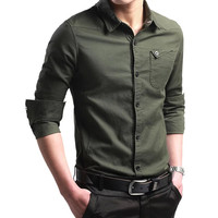Spring Autumn Features Shirt Men Casual Dress Shirt Chemise Homme Solid Long Sleeved Cotton Slim Fit