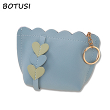 BOTUSI Female Purse Bag Purse Vintage Short Wallets Coin Purse Women Small PU Leather Wallet Credit Card ID Holder with Key Ring 2018 new super thin small credit card wallet women s leather key chain id card holder slim wallet female ladies mini coin purse